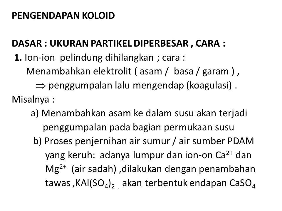 Pengendapan koloid dasar : Ukuran partikel diperbesar , caRA : 1. Ion-ion pelindung dihilangkan ; cara :