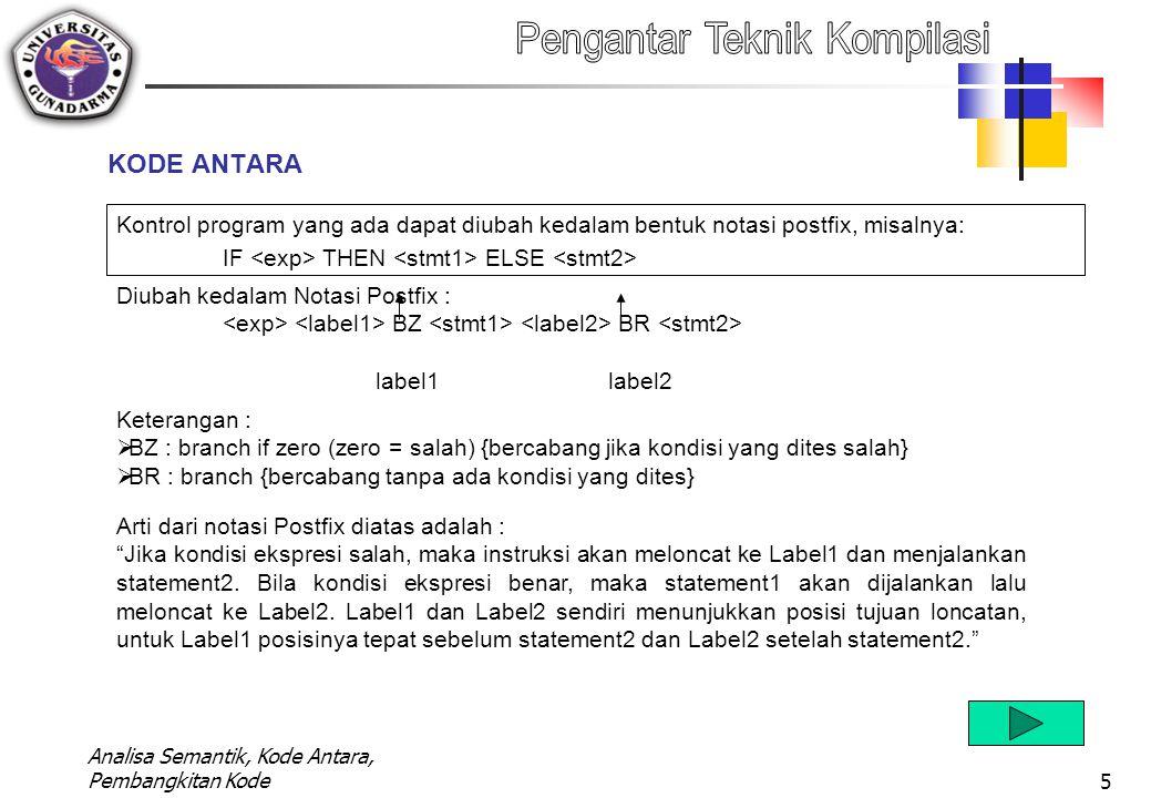 KODE ANTARA Kontrol program yang ada dapat diubah kedalam bentuk notasi postfix, misalnya: IF <exp> THEN <stmt1> ELSE <stmt2>