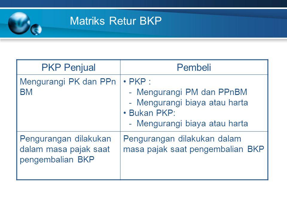 Matriks Retur BKP PKP Penjual Pembeli Mengurangi PK dan PPn BM PKP :
