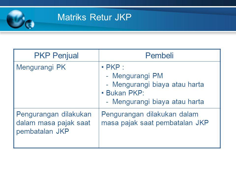 Matriks Retur JKP PKP Penjual Pembeli Mengurangi PK PKP :
