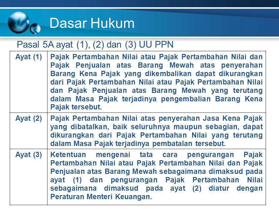 Dasar Hukum Pasal 5A ayat (1), (2) dan (3) UU PPN Ayat (1)