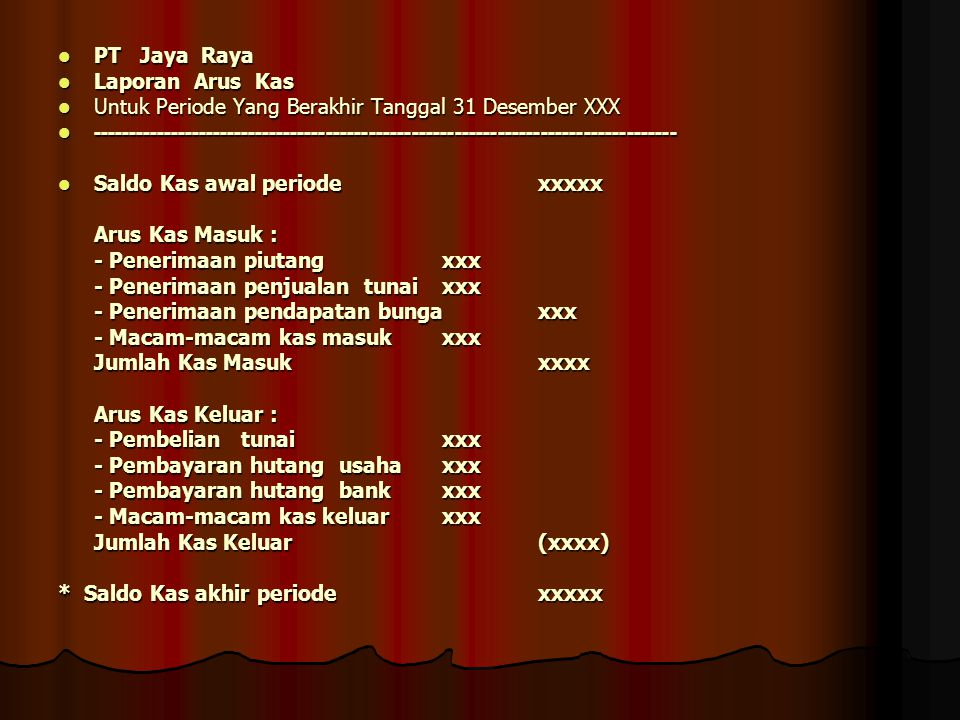 PT Jaya Raya Laporan Arus Kas. Untuk Periode Yang Berakhir Tanggal 31 Desember XXX.
