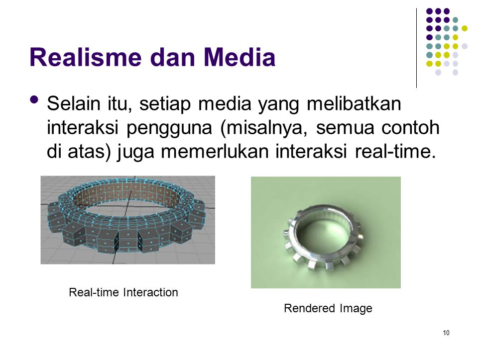Realisme dan Media Selain itu, setiap media yang melibatkan interaksi pengguna (misalnya, semua contoh di atas) juga memerlukan interaksi real-time.