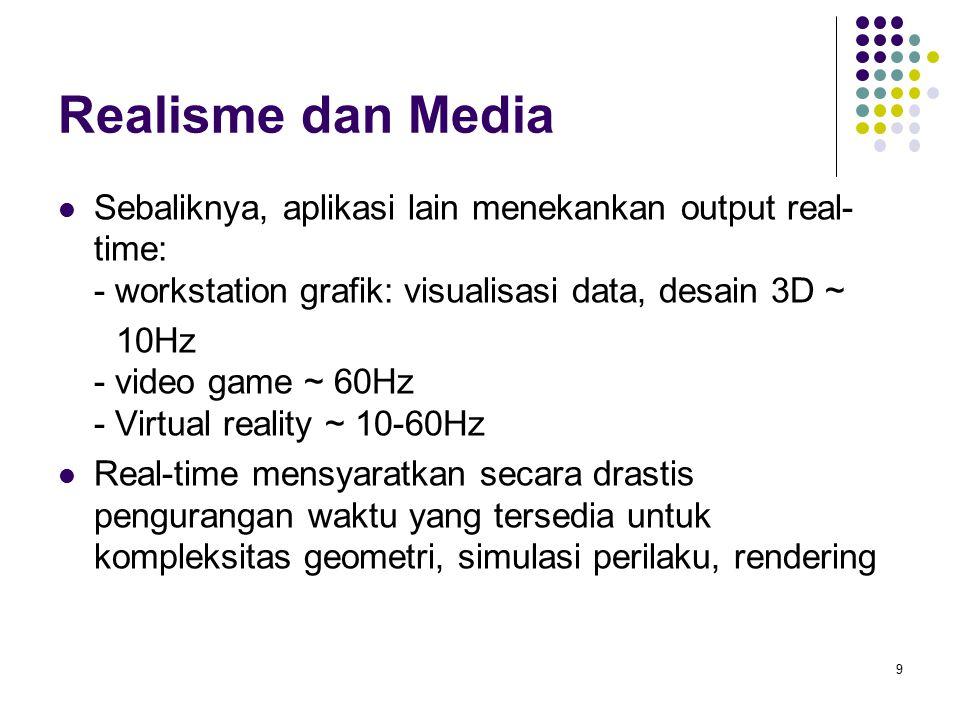 Realisme dan Media Sebaliknya, aplikasi lain menekankan output real-time: - workstation grafik: visualisasi data, desain 3D ~