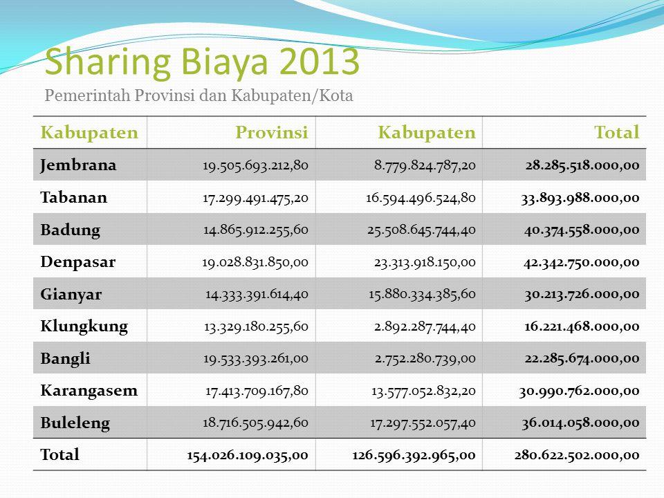 Sharing Biaya 2013 Pemerintah Provinsi dan Kabupaten/Kota