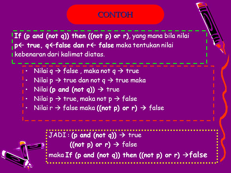 CONTOH If (p and (not q)) then ((not p) or r), yang mana bila nilai