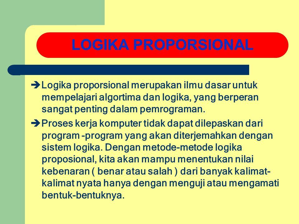 LOGIKA PROPORSIONAL Logika proporsional merupakan ilmu dasar untuk mempelajari algortima dan logika, yang berperan sangat penting dalam pemrograman.