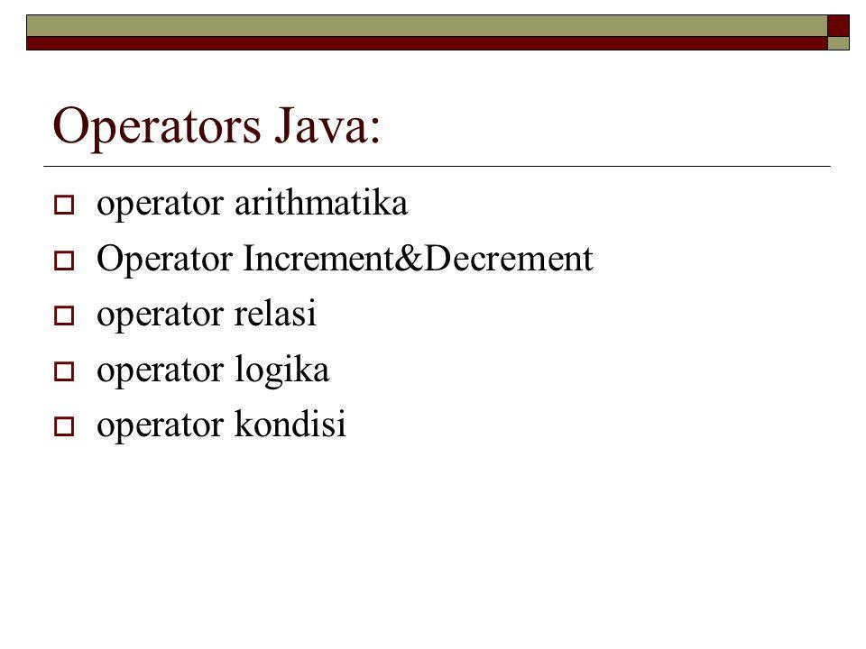 Operators Java: operator arithmatika Operator Increment&Decrement