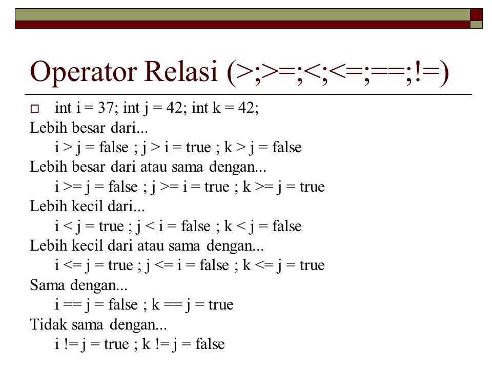 Operator Relasi (>;>=;<;<=;==;!=)