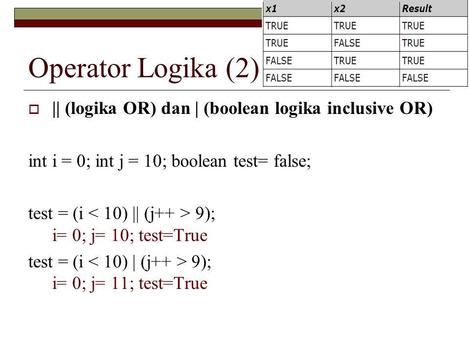 Operator Logika (2) || (logika OR) dan | (boolean logika inclusive OR)