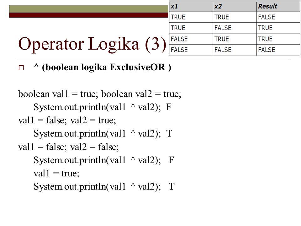 Operator Logika (3) ^ (boolean logika ExclusiveOR )