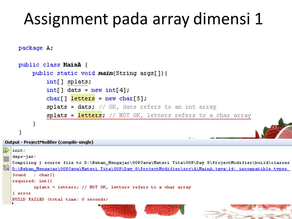 Assignment pada array dimensi 1