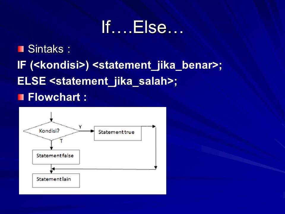If….Else… Sintaks : IF (<kondisi>) <statement_jika_benar>;