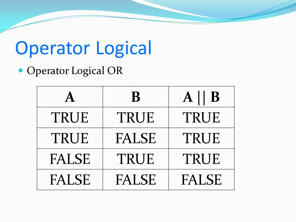 Operator Logical Operator Logical OR A B A || B TRUE FALSE