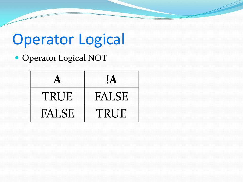Operator Logical Operator Logical NOT A !A TRUE FALSE