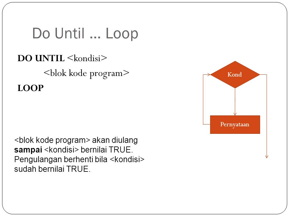 Do Until ... Loop DO UNTIL <kondisi> <blok kode program> LOOP Kond. Pernyataan.