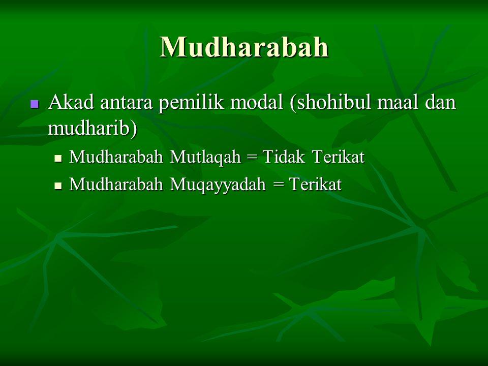Mudharabah Akad antara pemilik modal (shohibul maal dan mudharib)