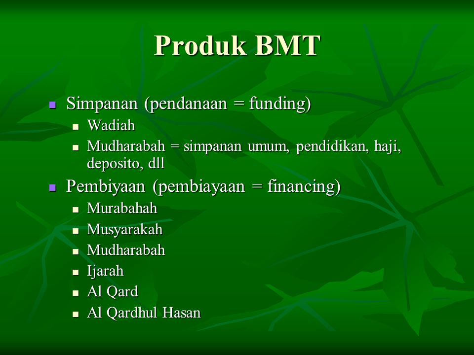 Produk BMT Simpanan (pendanaan = funding)