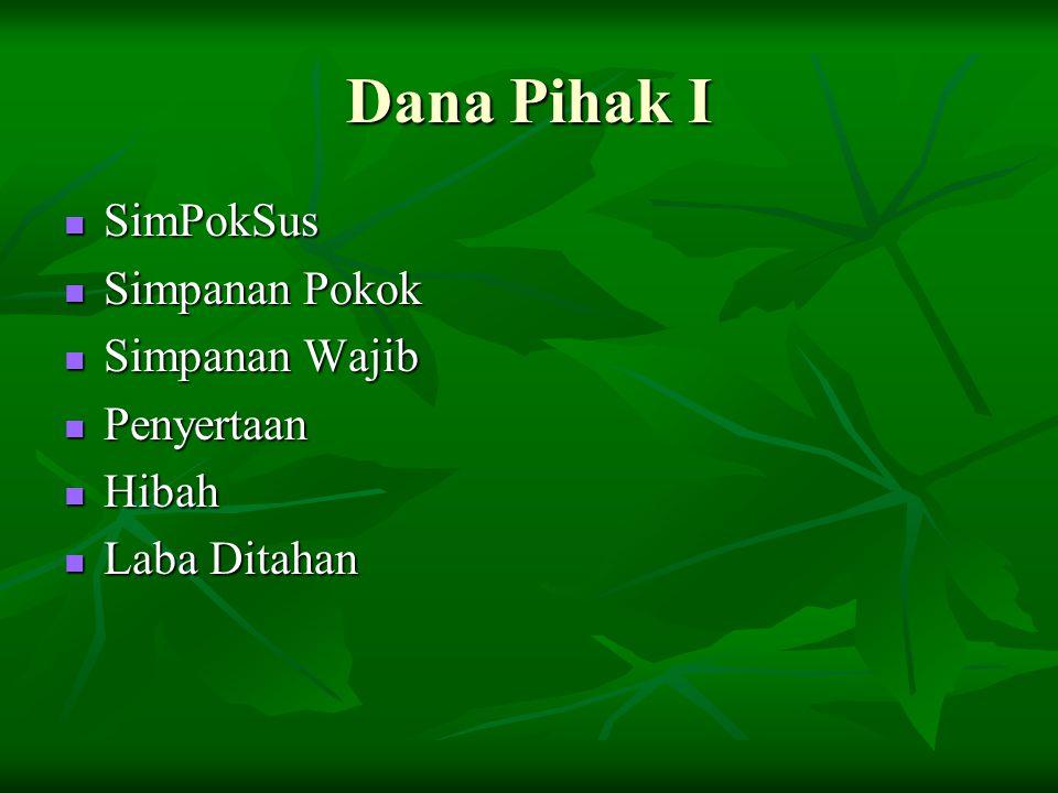 Dana Pihak I SimPokSus Simpanan Pokok Simpanan Wajib Penyertaan Hibah