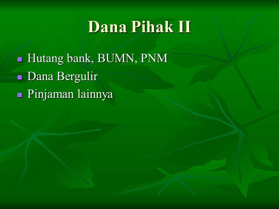 Dana Pihak II Hutang bank, BUMN, PNM Dana Bergulir Pinjaman lainnya