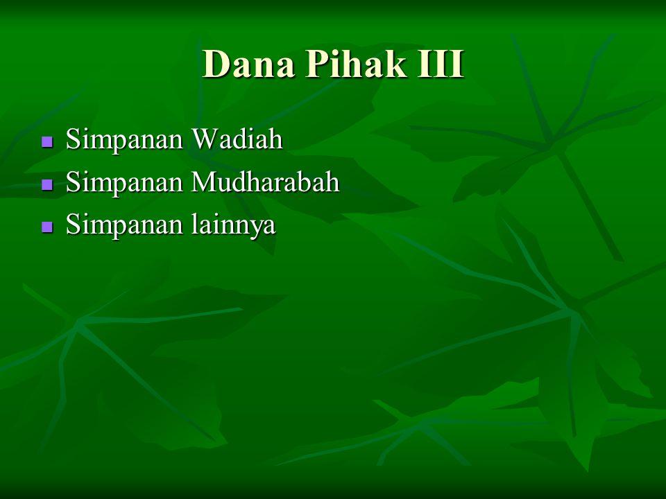 Dana Pihak III Simpanan Wadiah Simpanan Mudharabah Simpanan lainnya