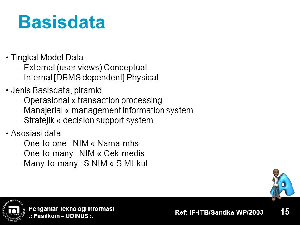 Basisdata • Tingkat Model Data – External (user views) Conceptual