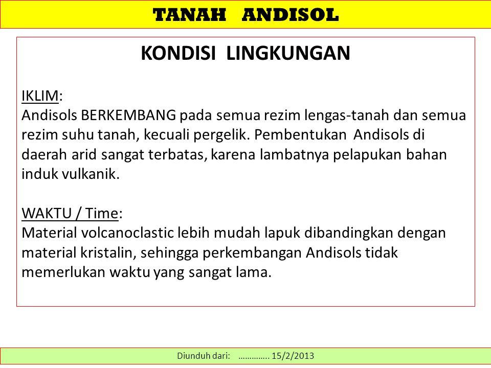 KONDISI LINGKUNGAN TANAH ANDISOL IKLIM: