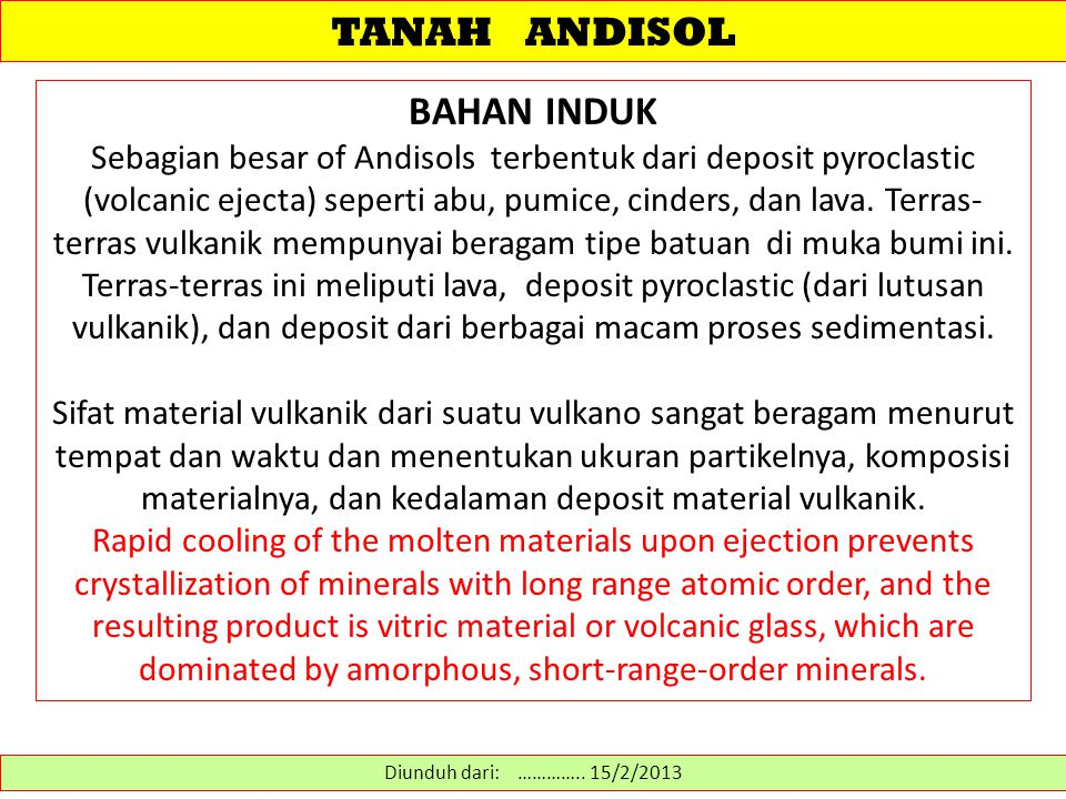 TANAH ANDISOL BAHAN INDUK