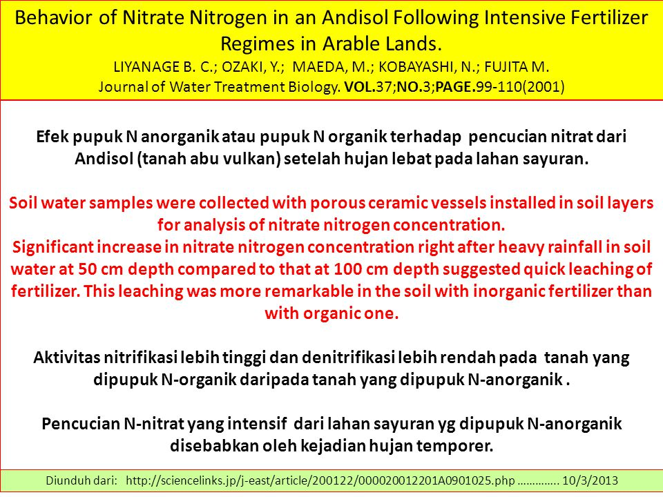 Behavior of Nitrate Nitrogen in an Andisol Following Intensive Fertilizer Regimes in Arable Lands.