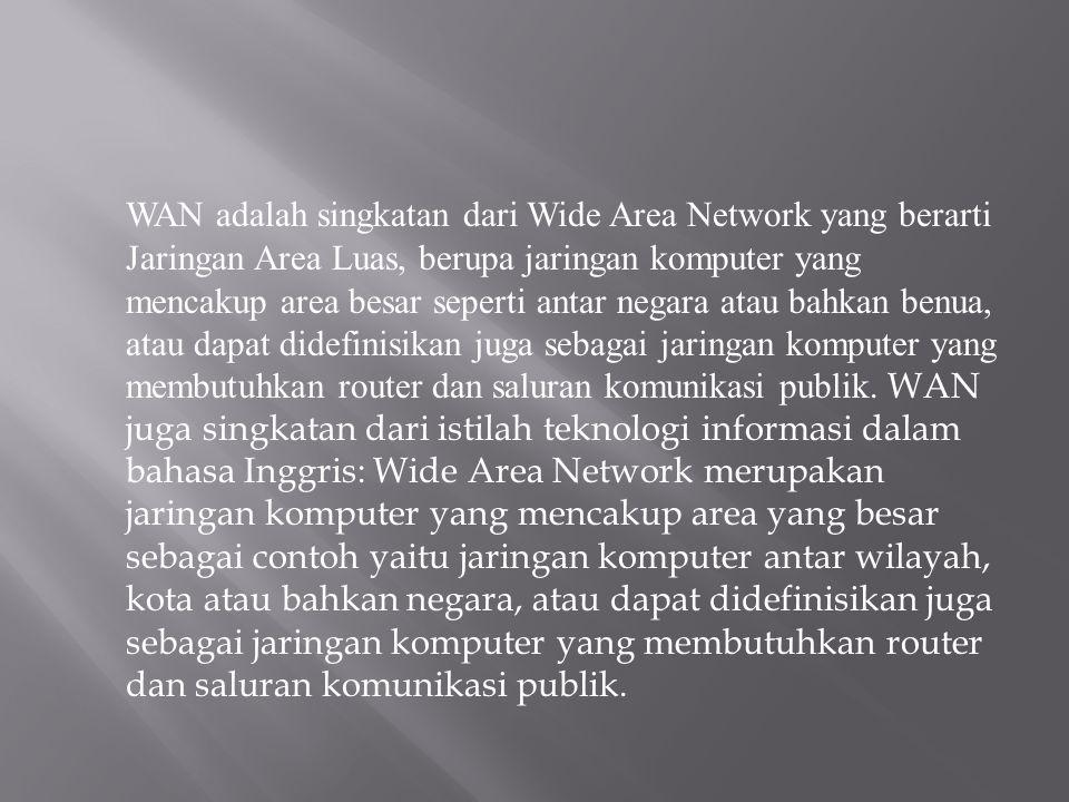 WAN adalah singkatan dari Wide Area Network yang berarti Jaringan Area Luas, berupa jaringan komputer yang mencakup area besar seperti antar negara atau bahkan benua, atau dapat didefinisikan juga sebagai jaringan komputer yang membutuhkan router dan saluran komunikasi publik.