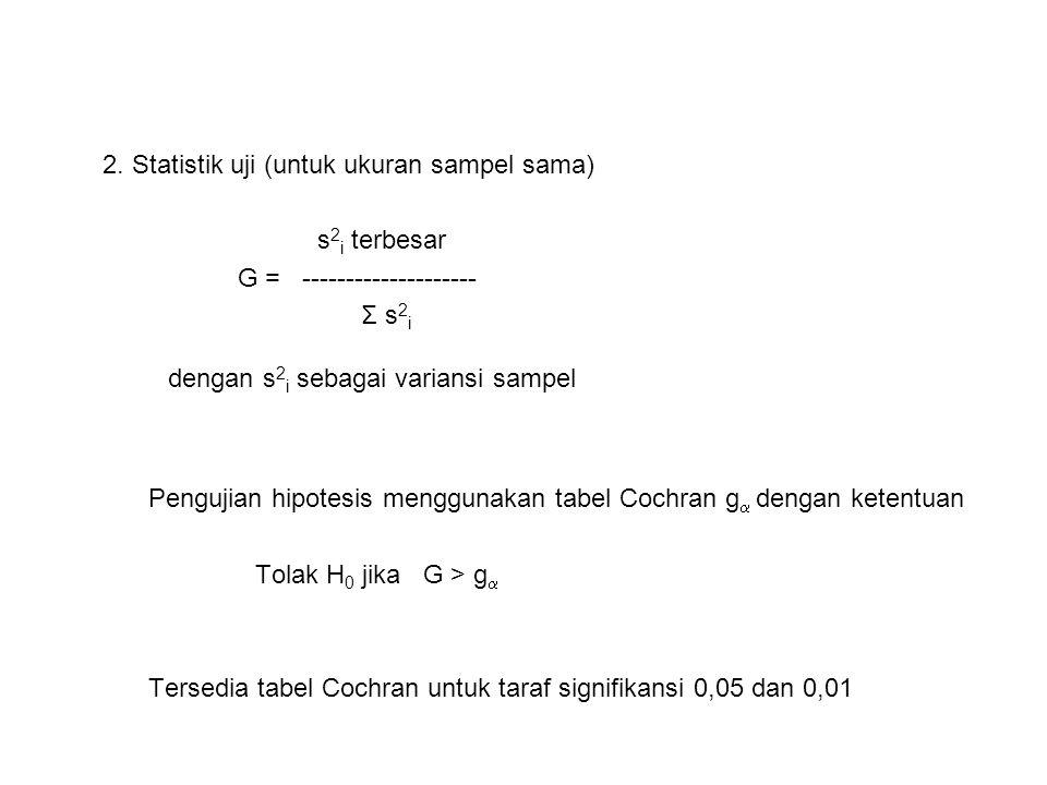 Pengujian hipotesis menggunakan tabel Cochran g dengan ketentuan