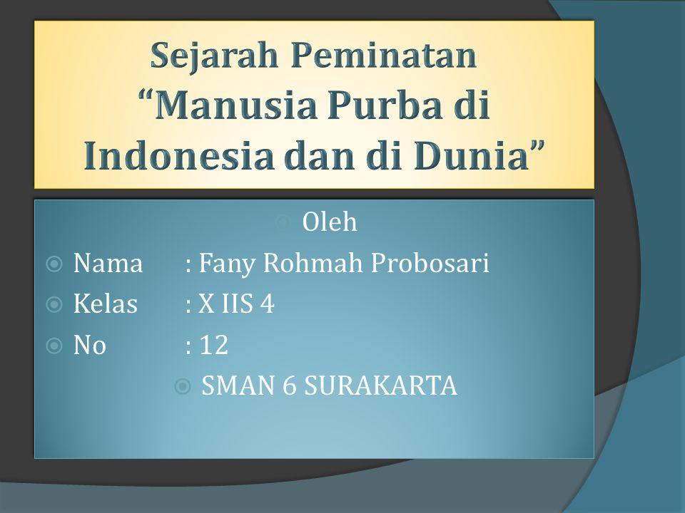 Sejarah Peminatan Manusia Purba di Indonesia dan di Dunia