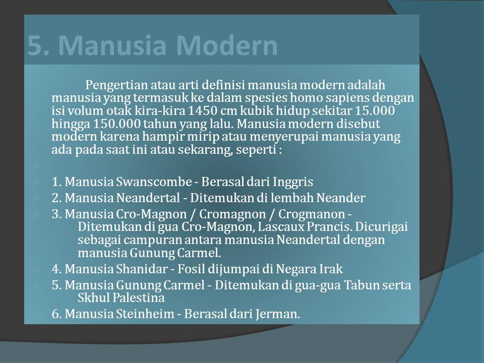 5. Manusia Modern 1. Manusia Swanscombe - Berasal dari Inggris