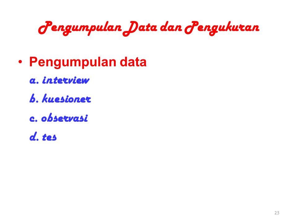 Pengumpulan Data dan Pengukuran