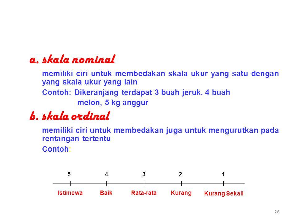 a. skala nominal b. skala ordinal