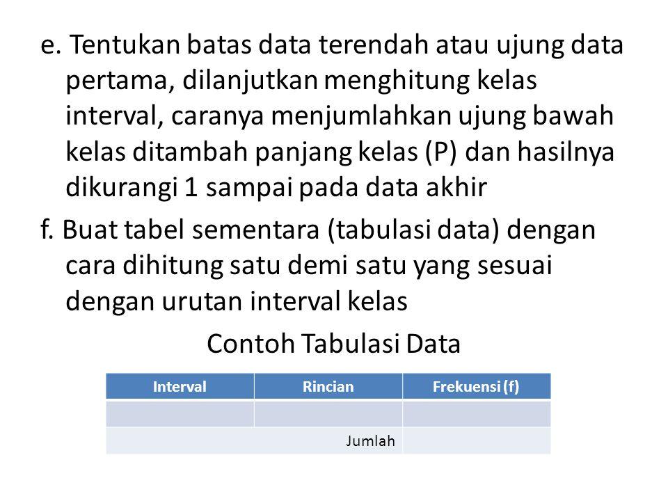 e. Tentukan batas data terendah atau ujung data pertama, dilanjutkan menghitung kelas interval, caranya menjumlahkan ujung bawah kelas ditambah panjang kelas (P) dan hasilnya dikurangi 1 sampai pada data akhir f. Buat tabel sementara (tabulasi data) dengan cara dihitung satu demi satu yang sesuai dengan urutan interval kelas Contoh Tabulasi Data