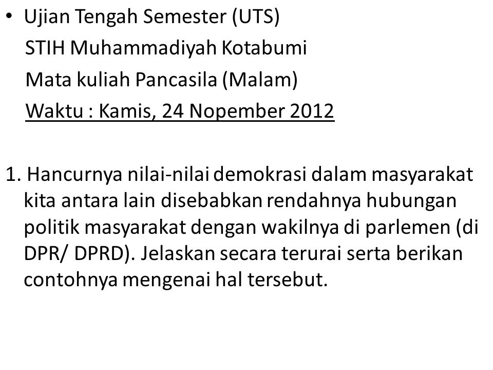 Ujian Tengah Semester (UTS)