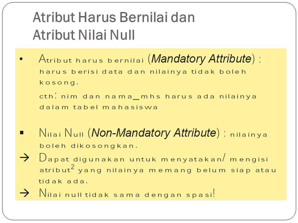 Atribut Harus Bernilai dan Atribut Nilai Null
