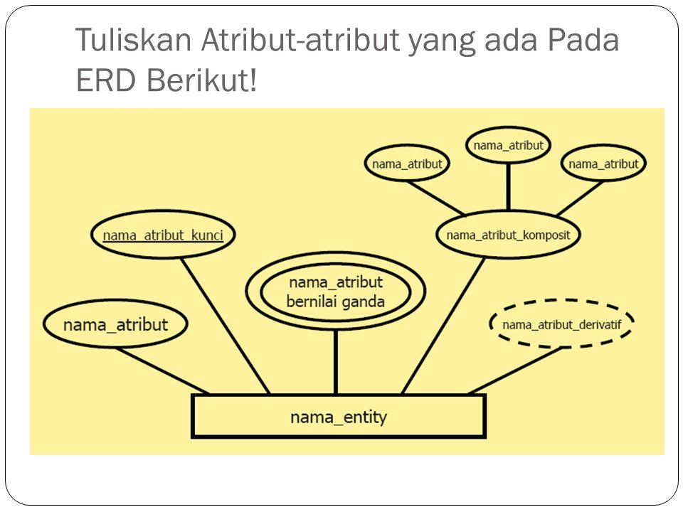 Tuliskan Atribut-atribut yang ada Pada ERD Berikut!