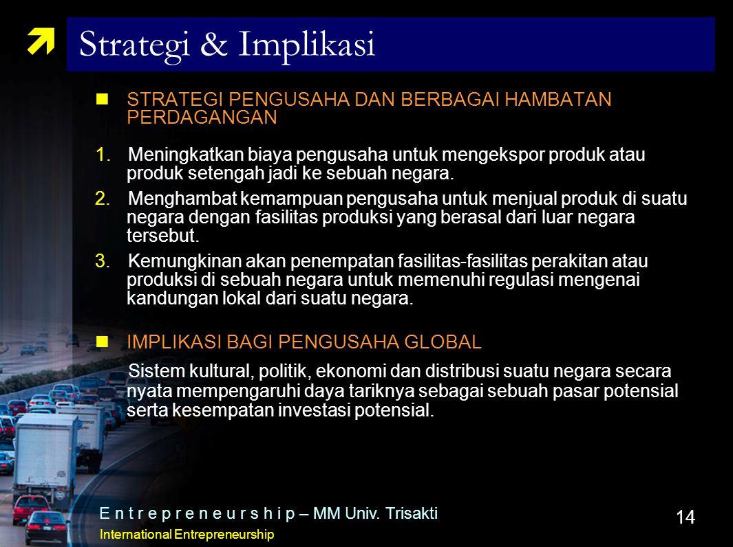 Strategi & Implikasi STRATEGI PENGUSAHA DAN BERBAGAI HAMBATAN PERDAGANGAN.