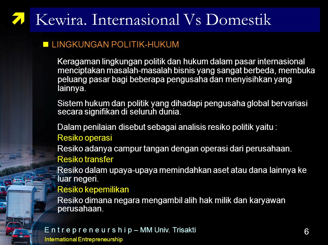 Kewira. Internasional Vs Domestik