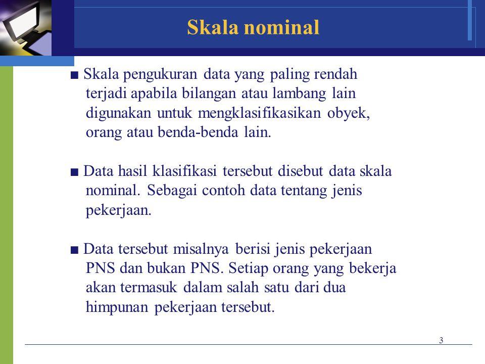 Skala nominal ■ Skala pengukuran data yang paling rendah