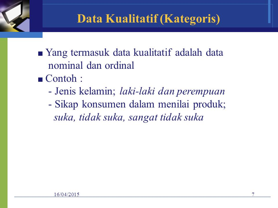 Data Kualitatif (Kategoris)