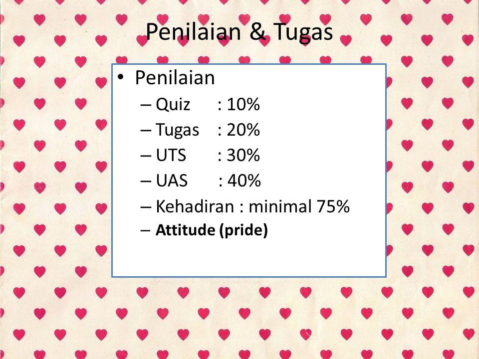Penilaian & Tugas Penilaian Quiz : 10% Tugas : 20% UTS : 30% UAS : 40%