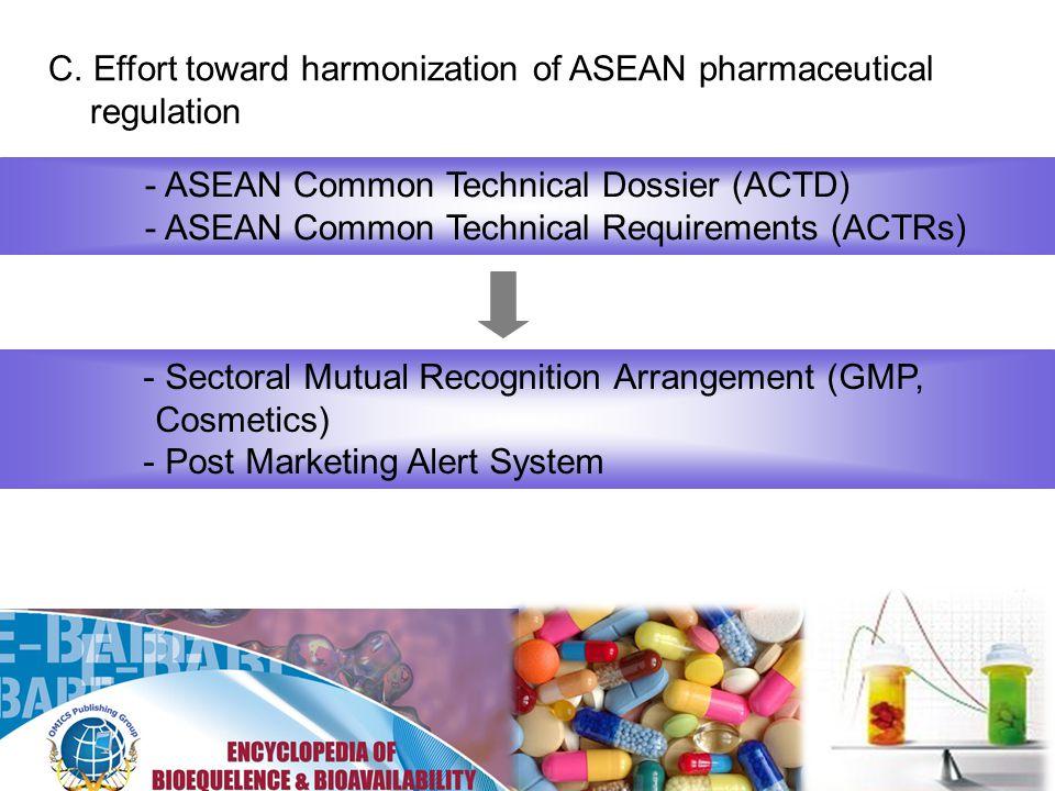 C. Effort toward harmonization of ASEAN pharmaceutical regulation