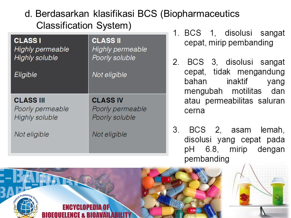 d. Berdasarkan klasifikasi BCS (Biopharmaceutics Classification System)