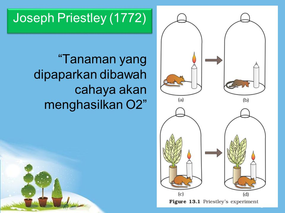 Joseph Priestley (1772) Tanaman yang dipaparkan dibawah cahaya akan menghasilkan O2
