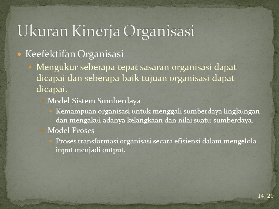 Ukuran Kinerja Organisasi