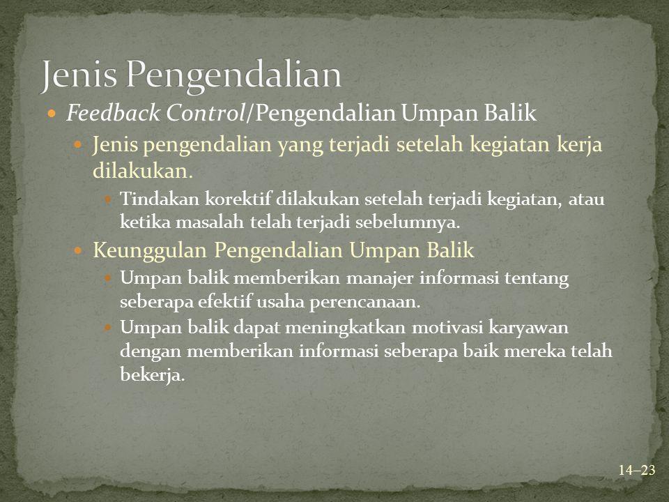 Jenis Pengendalian Feedback Control/Pengendalian Umpan Balik