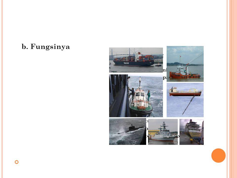 b. Fungsinya Kapal Perang Kapal selam Kapal selam militer
